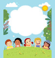 template with happy kids laying on grass vector image vector image