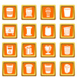 trash can icons set orange square vector image vector image