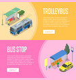 trolleybus and bus station isometric 3d posters vector image