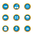 variety of living icons set flat style vector image