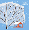 winter snow landscape bird feeder with feed vector image vector image