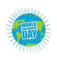 World Environment Day Earth in grunge style emblem vector image vector image