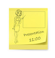 yellow sticker with business woman and vector image