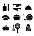 Black minimal kitchen cookware icon set vector image