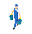 agricultural work isometric farmer carries two vector image
