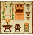 Antique wooden furniture on the old paper vector image vector image