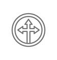 arrow cross three-way different directional vector image vector image