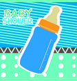 baby shower card with a baby bottle vector image vector image