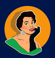 beaming woman - retro clip art vector image vector image