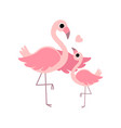beautiful mother flamingo and its baby cute vector image vector image