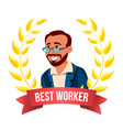 best worker employee turkish man award of vector image vector image
