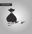 black and white style icon bag with money vector image vector image
