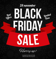 Black friday sale banner with Ribbon vector image