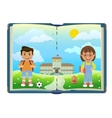 Book with school and two children vector image