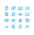 books flat line icons reading library vector image