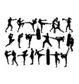 boxing camp activity silhouettes vector image vector image
