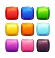 Cartoon colorful glossy stone square buttons vector image vector image