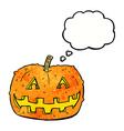 cartoon pumpkin with thought bubble vector image