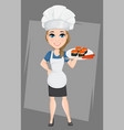 chef woman with sushi cute cartoon character cook vector image vector image