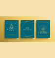 christmas and new year gold outline card set vector image vector image