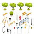 city map elements constructor isometric icon set vector image