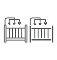 crib line and glyph icon home and child cradle vector image vector image