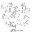 cute funny cats set vector image vector image