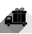 delivery gift sign black icon with two vector image vector image