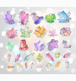 doodle sketch colored crystals collection of vector image vector image