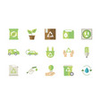 ecological green energy icons collection vector image