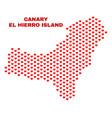el hierro island map - mosaic of lovely hearts vector image vector image