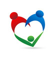 family union in a heart shape logo vector image