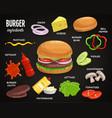 fast food ingredients for hamburger cheeseburger vector image