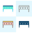flat top grill icon set in flat and line styles vector image