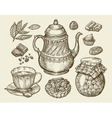Food tea dessert Hand drawn vintage teapot vector image