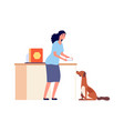 girl feed dog isolated happy pet owner character vector image