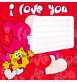 Greeting card I love you with cat and hearts vector image
