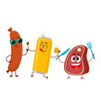 happy beer can meat steak frankfurter sausage vector image