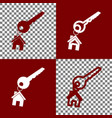 key with keychain as an house sign bordo vector image vector image