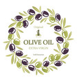 label for olive oil wreath of black and green vector image vector image