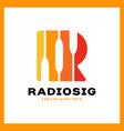 letter r logo - radio signal vector image