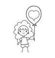 line beauty girl with balloon design in the hand vector image
