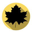 maple leaf sign flat black icon with flat vector image vector image