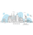 new york skyline line art style vector image vector image