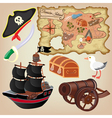 pirates map ship and other attributes vector image
