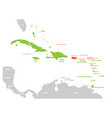 political map of carribean green highlighted vector image