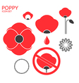 Poppy Icon set vector image