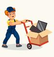 porter pushing wheelbarrow with carton flat poster vector image vector image