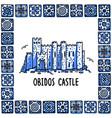 portugal landmarks set obidos castle landscape vector image