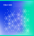 public signs concept in honeycombs thin line icons vector image vector image